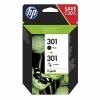 Cartus original HP 301 2-pack Black Tri-color ink N9J72AE